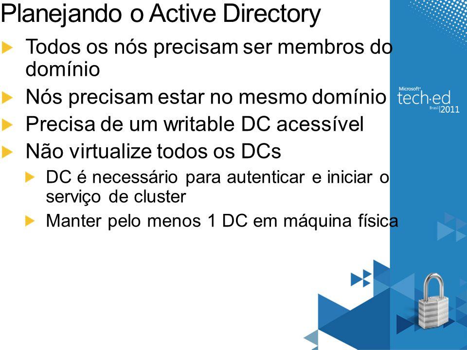 Planejando o Active Directory Todos os nós precisam ser membros do domínio Nós precisam estar no mesmo domínio Precisa de um writable DC acessível Não