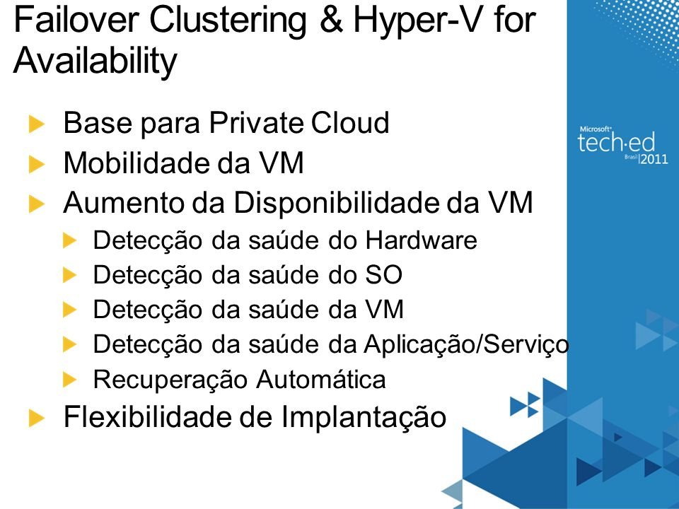Failover Clustering & Hyper-V for Availability Base para Private Cloud Mobilidade da VM Aumento da Disponibilidade da VM Detecção da saúde do Hardware