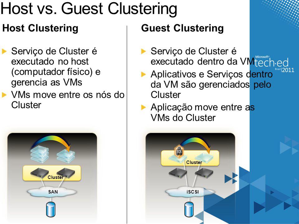Host vs. Guest Clustering Serviço de Cluster é executado no host (computador físico) e gerencia as VMs VMs move entre os nós do Cluster Guest Clusteri