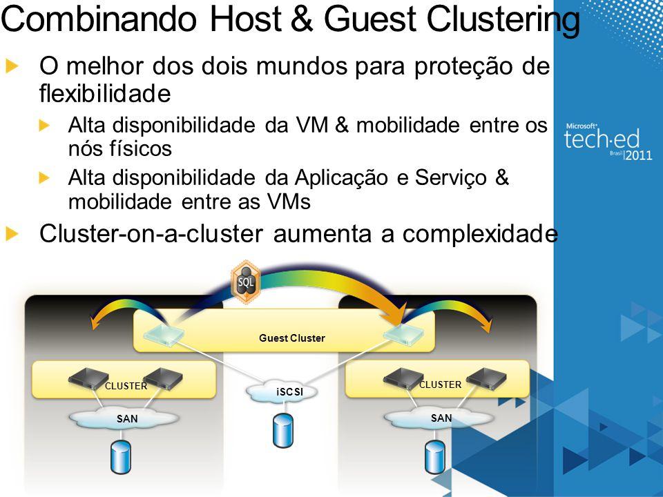 Combinando Host & Guest Clustering O melhor dos dois mundos para proteção de flexibilidade Alta disponibilidade da VM & mobilidade entre os nós físico