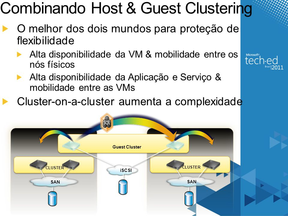 Failover Cluster Resources Cluster Team Blog: http://blogs.msdn.com/clustering// Clustering Forum: http://forums.technet.microsoft.com/en- US/winserverClustering/threads / Cluster Resources: http://blogs.msdn.com/clustering/archive/2009/08/21/9878286.aspx Cluster Information Portal: http://www.microsoft.com/windowsserver2008/en/us/clustering- home.aspx Clustering Technical Resources: http://www.microsoft.com/windowsserver2008/en/us/clustering- resources.aspx Windows Server 2008 R2 Cluster Features: http://technet.microsoft.com/en-us/library/dd443539.aspx