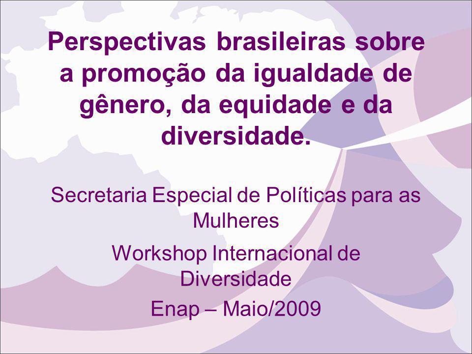 Perspectivas brasileiras sobre a promoção da igualdade de gênero, da equidade e da diversidade. Secretaria Especial de Políticas para as Mulheres Work
