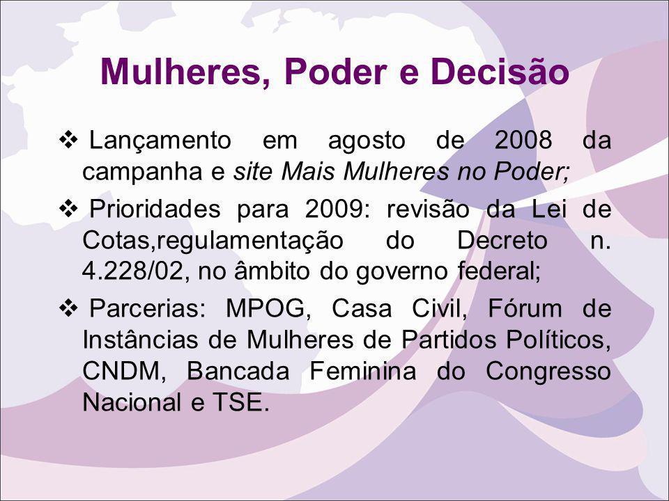Mulheres, Poder e Decisão Lançamento em agosto de 2008 da campanha e site Mais Mulheres no Poder; Prioridades para 2009: revisão da Lei de Cotas,regul