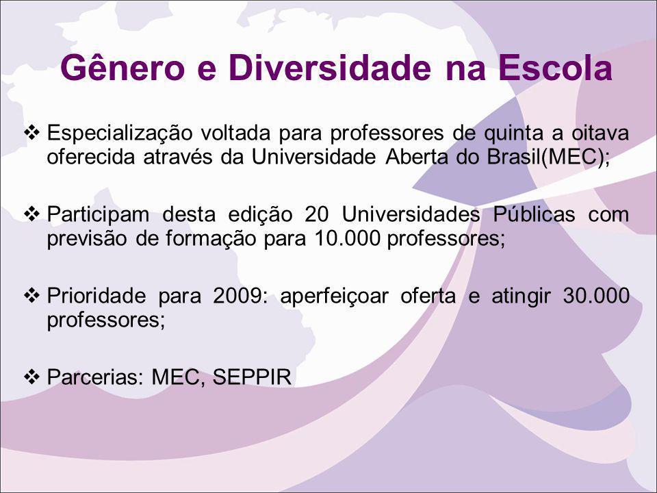 Gênero e Diversidade na Escola Especialização voltada para professores de quinta a oitava oferecida através da Universidade Aberta do Brasil(MEC); Par