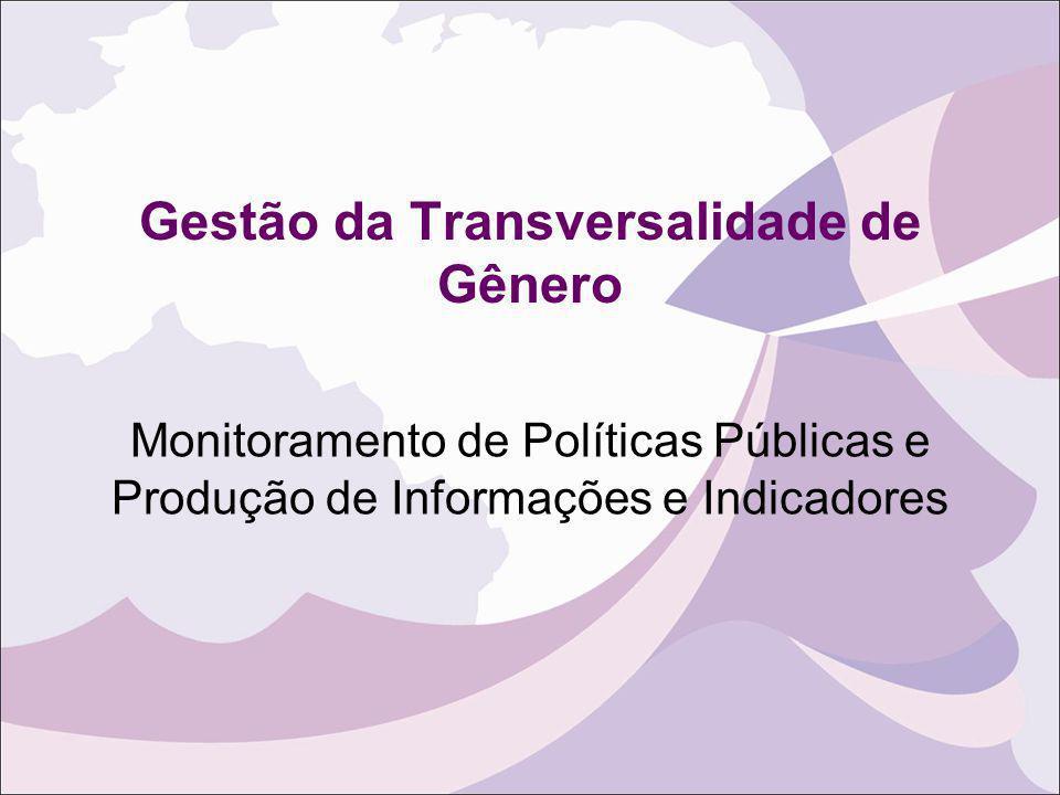 Gestão da Transversalidade de Gênero Monitoramento de Políticas Públicas e Produção de Informações e Indicadores