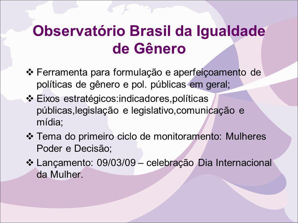 Observatório Brasil da Igualdade de Gênero Ferramenta para formulação e aperfeiçoamento de políticas de gênero e pol. públicas em geral; Eixos estraté