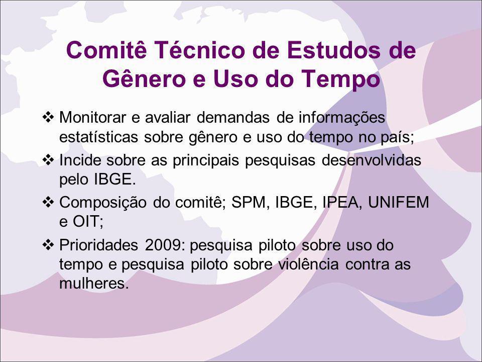 Comitê Técnico de Estudos de Gênero e Uso do Tempo Monitorar e avaliar demandas de informações estatísticas sobre gênero e uso do tempo no país; Incid