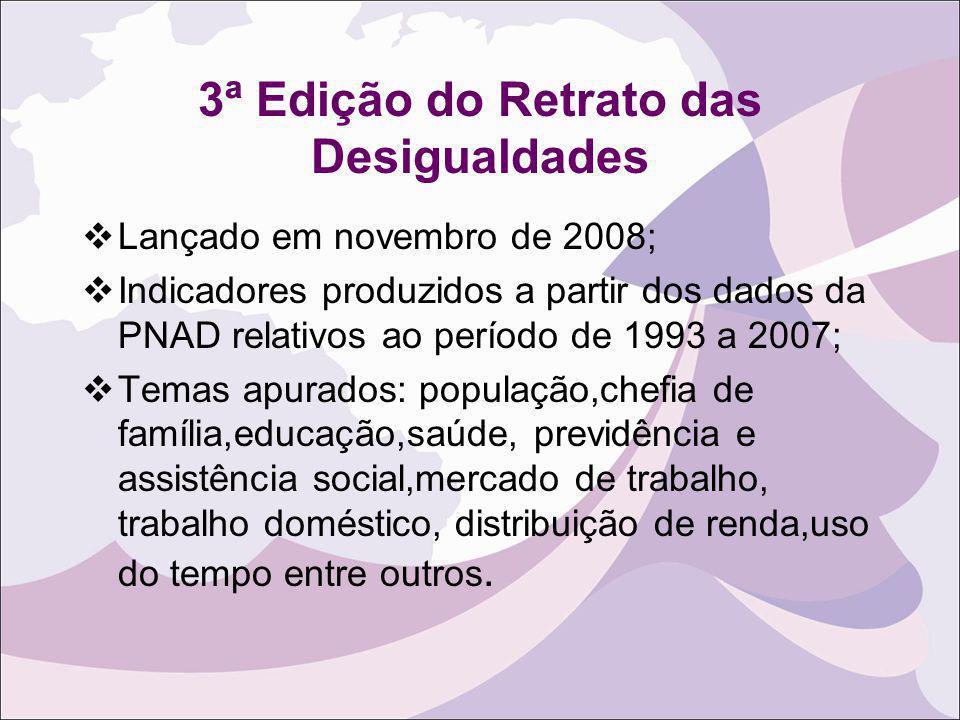 3ª Edição do Retrato das Desigualdades Lançado em novembro de 2008; Indicadores produzidos a partir dos dados da PNAD relativos ao período de 1993 a 2