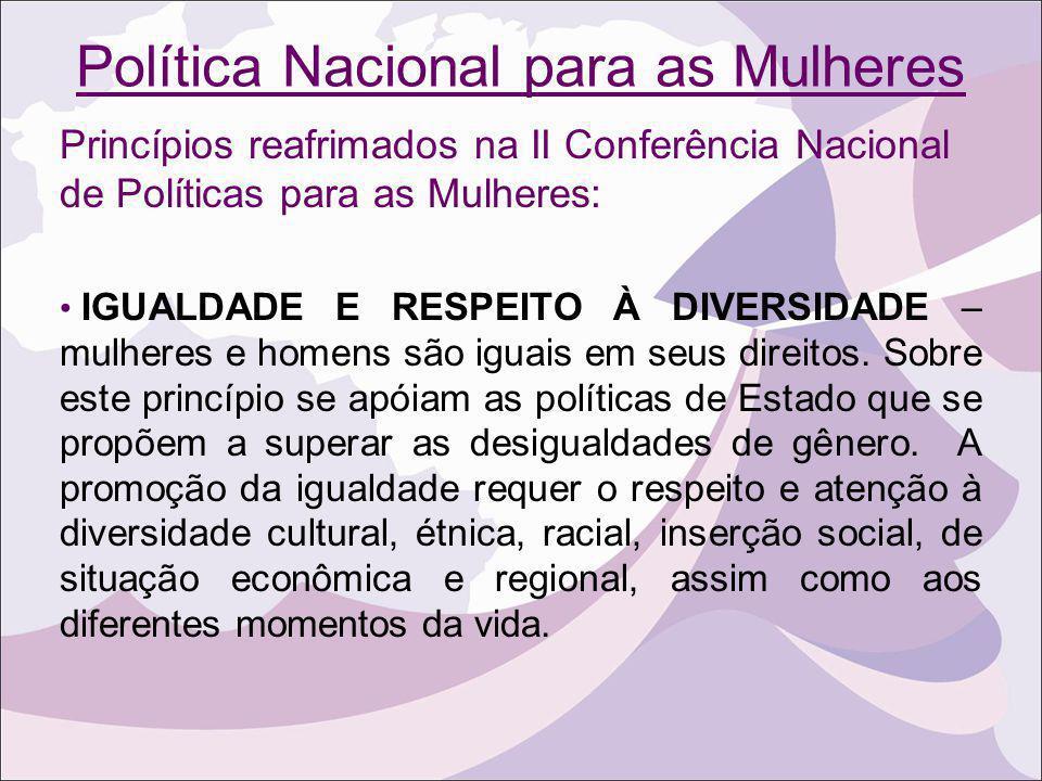 Política Nacional para as Mulheres Princípios reafrimados na II Conferência Nacional de Políticas para as Mulheres: IGUALDADE E RESPEITO À DIVERSIDADE
