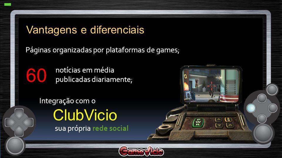 Páginas organizadas por plataformas de games; notícias em média publicadas diariamente; sua própria rede social Vantagens e diferenciais 60 ClubVicio