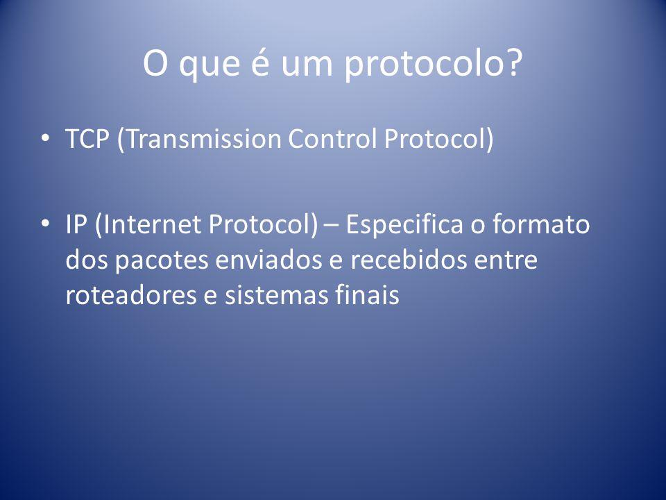 O que é um protocolo? TCP (Transmission Control Protocol) IP (Internet Protocol) – Especifica o formato dos pacotes enviados e recebidos entre roteado