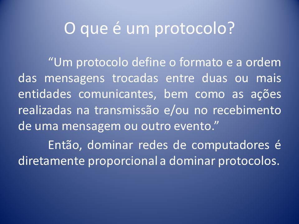 O que é um protocolo? Um protocolo define o formato e a ordem das mensagens trocadas entre duas ou mais entidades comunicantes, bem como as ações real