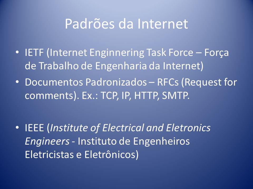 Padrões da Internet IETF (Internet Enginnering Task Force – Força de Trabalho de Engenharia da Internet) Documentos Padronizados – RFCs (Request for c