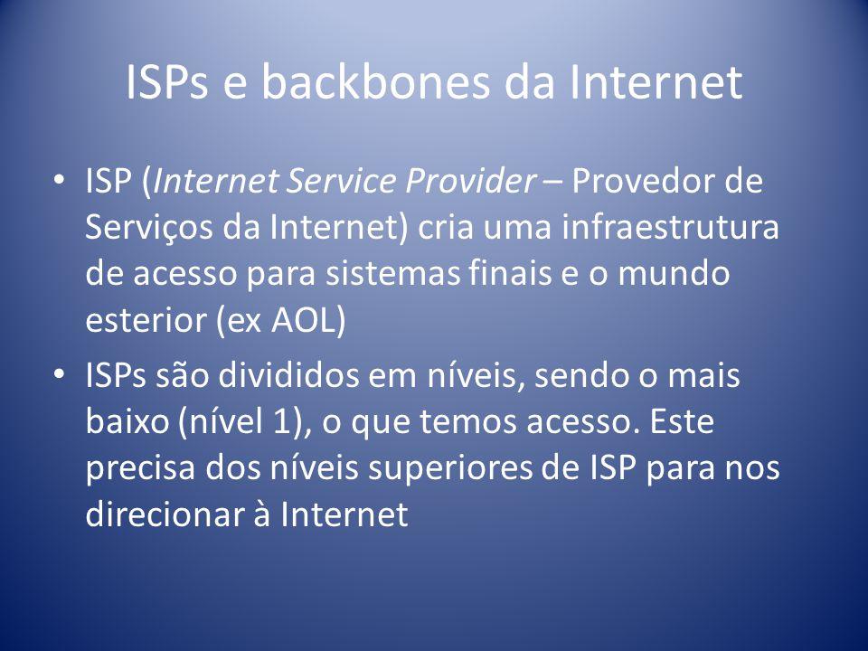 ISPs e backbones da Internet ISP (Internet Service Provider – Provedor de Serviços da Internet) cria uma infraestrutura de acesso para sistemas finais
