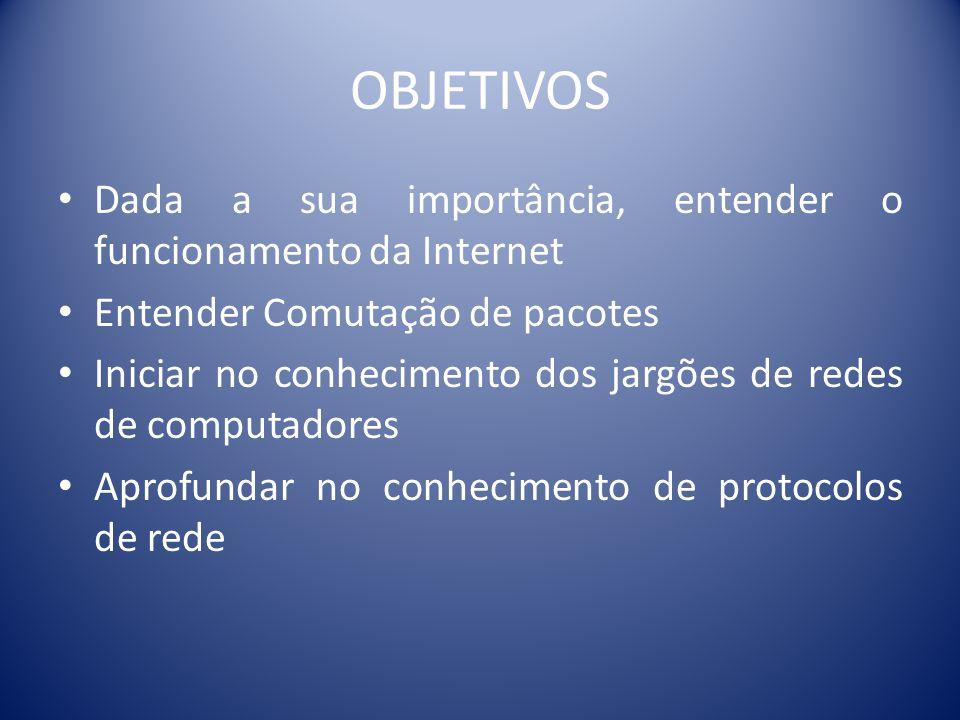 OBJETIVOS Dada a sua importância, entender o funcionamento da Internet Entender Comutação de pacotes Iniciar no conhecimento dos jargões de redes de c