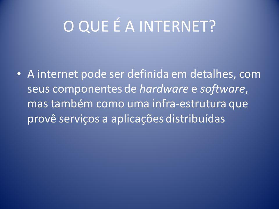O QUE É A INTERNET? A internet pode ser definida em detalhes, com seus componentes de hardware e software, mas também como uma infra-estrutura que pro