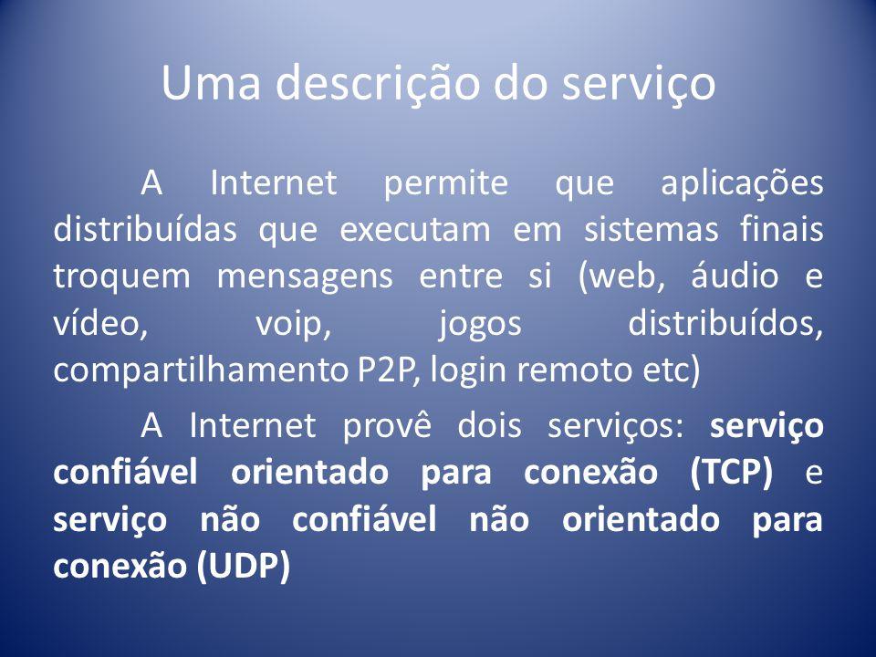 Uma descrição do serviço A Internet permite que aplicações distribuídas que executam em sistemas finais troquem mensagens entre si (web, áudio e vídeo