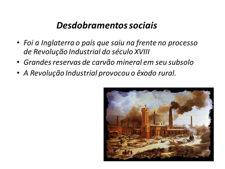 Desdobramentos sociais Foi a Inglaterra o país que saiu na frente no processo de Revolução Industrial do século XVIII Grandes reservas de carvão miner