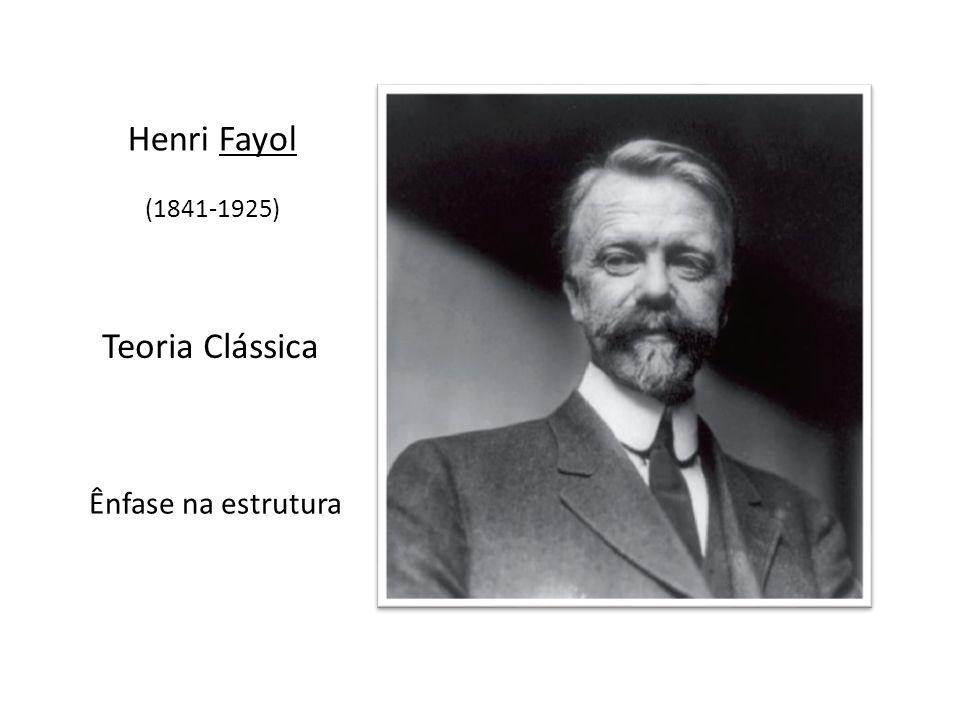 Henri Fayol (1841-1925) Teoria Clássica Ênfase na estrutura