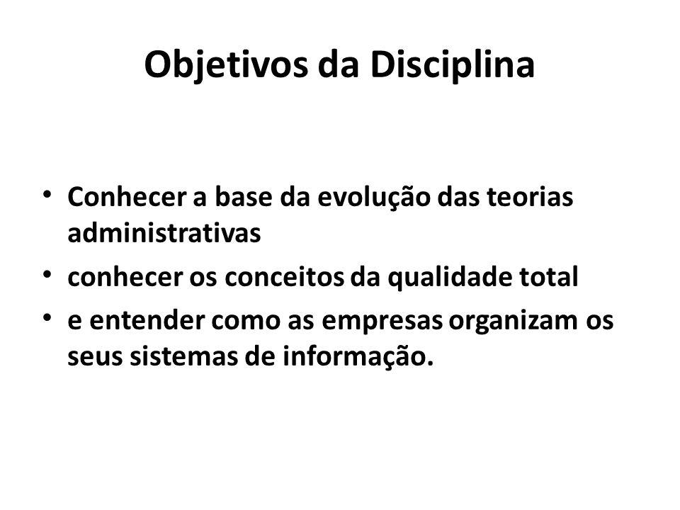 Objetivos da Disciplina Conhecer a base da evolução das teorias administrativas conhecer os conceitos da qualidade total e entender como as empresas o
