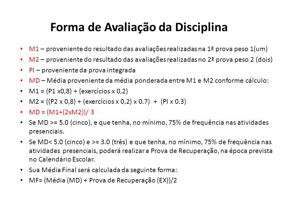 Forma de Avaliação da Disciplina M1 – proveniente do resultado das avaliações realizadas na 1ª prova peso 1(um) M2 – proveniente do resultado das aval