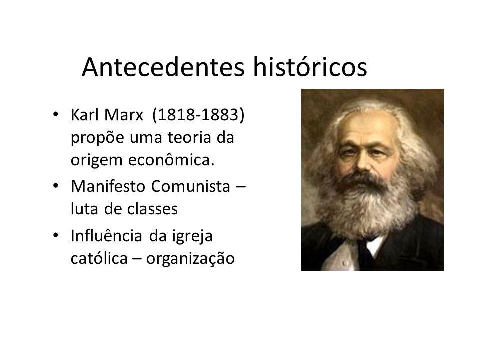 Antecedentes históricos Karl Marx (1818-1883) propõe uma teoria da origem econômica. Manifesto Comunista – luta de classes Influência da igreja católi