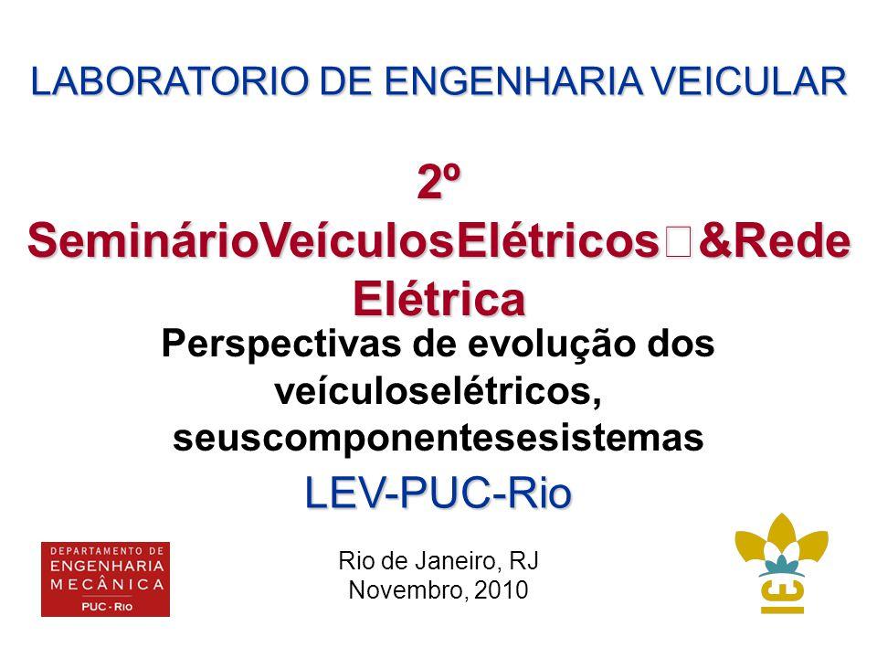 LABORATORIO DE ENGENHARIA VEICULAR Perspectivas de evolução dos veículoselétricos, seuscomponentesesistemas 2º SeminárioVeículosElétricos &Rede Elétrica LEV-PUC-Rio Rio de Janeiro, RJ Novembro, 2010