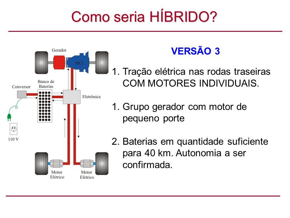 Como seria HÍBRIDO.VERSÃO 3 1.Tração elétrica nas rodas traseiras COM MOTORES INDIVIDUAIS.