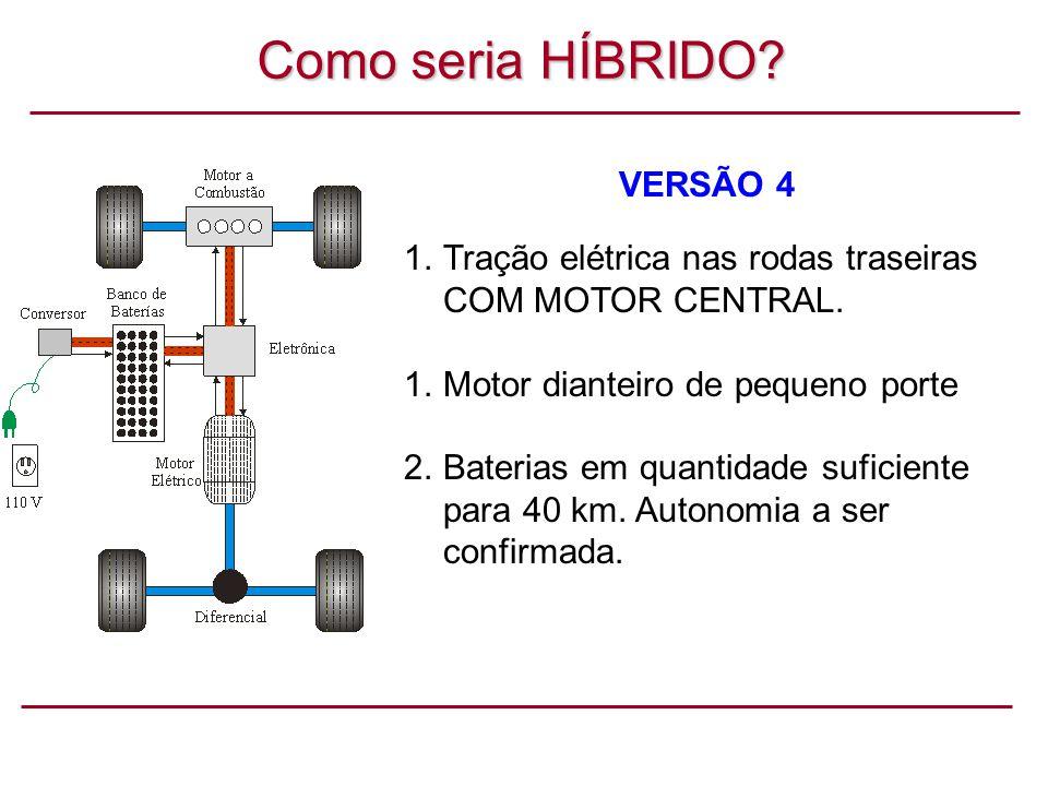 Como seria HÍBRIDO.VERSÃO 4 1.Tração elétrica nas rodas traseiras COM MOTOR CENTRAL.