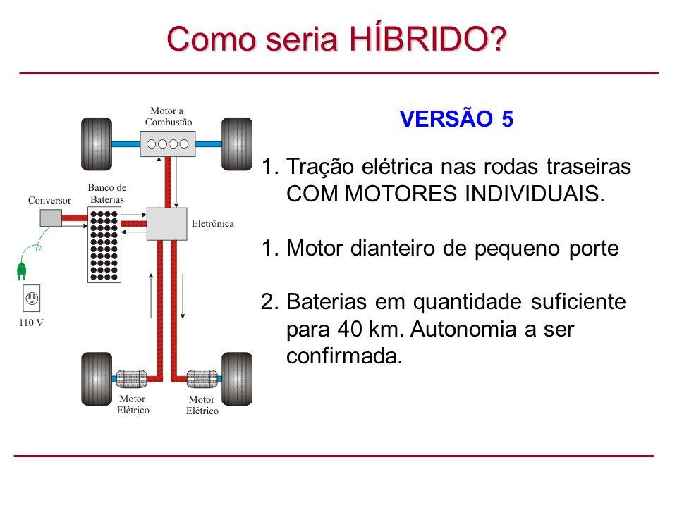 Como seria HÍBRIDO.VERSÃO 5 1.Tração elétrica nas rodas traseiras COM MOTORES INDIVIDUAIS.