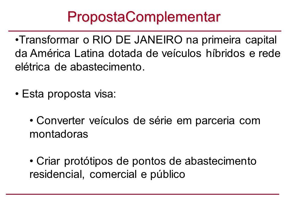 PropostaComplementar Transformar o RIO DE JANEIRO na primeira capital da América Latina dotada de veículos híbridos e rede elétrica de abastecimento.