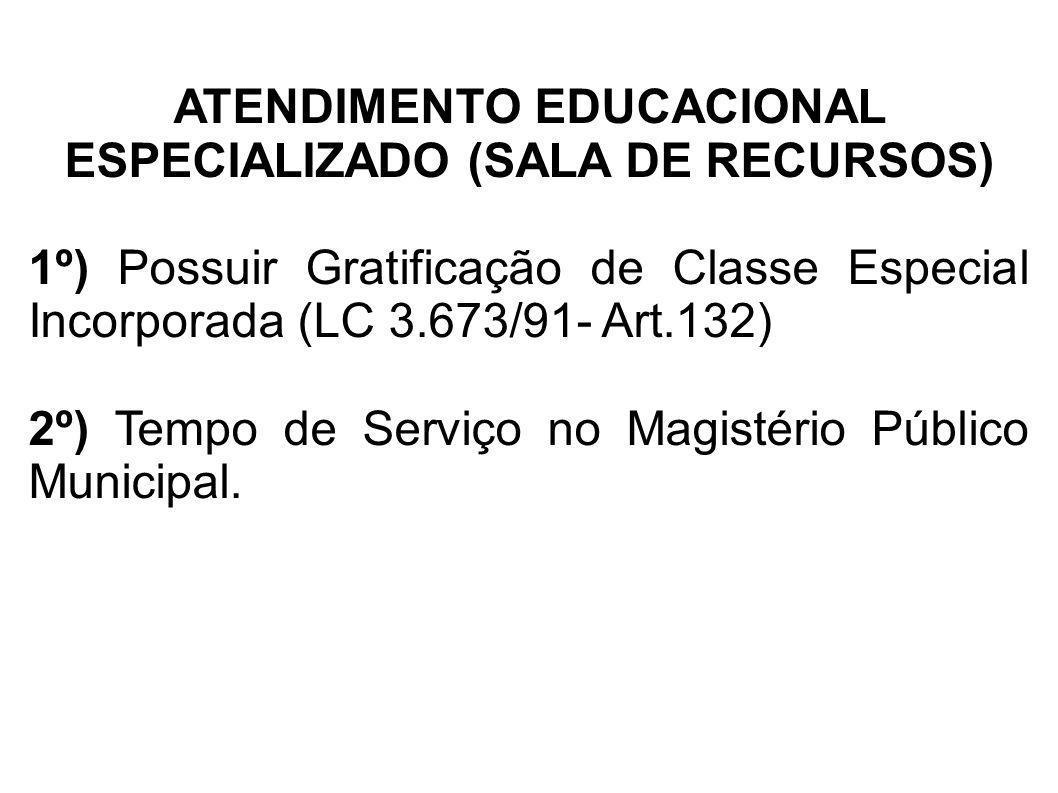 ATENDIMENTO EDUCACIONAL ESPECIALIZADO (SALA DE RECURSOS) 1º) Possuir Gratificação de Classe Especial Incorporada (LC 3.673/91- Art.132) 2º) Tempo de S