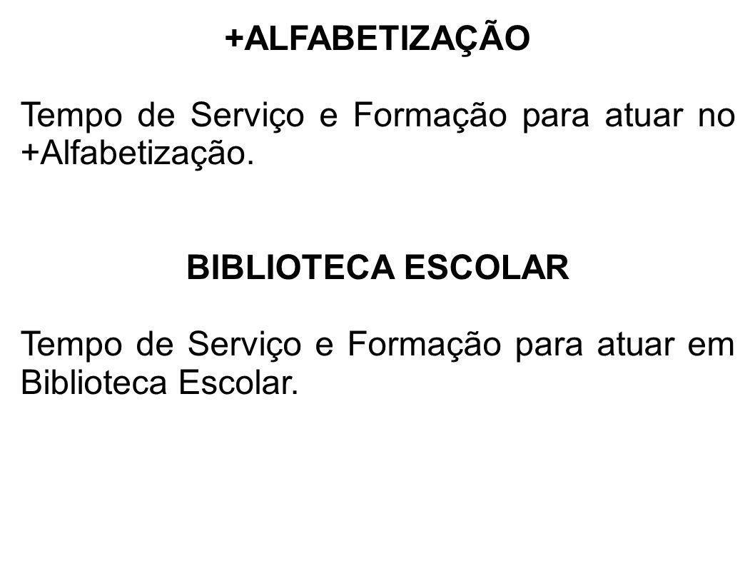 +ALFABETIZAÇÃO Tempo de Serviço e Formação para atuar no +Alfabetização. BIBLIOTECA ESCOLAR Tempo de Serviço e Formação para atuar em Biblioteca Escol