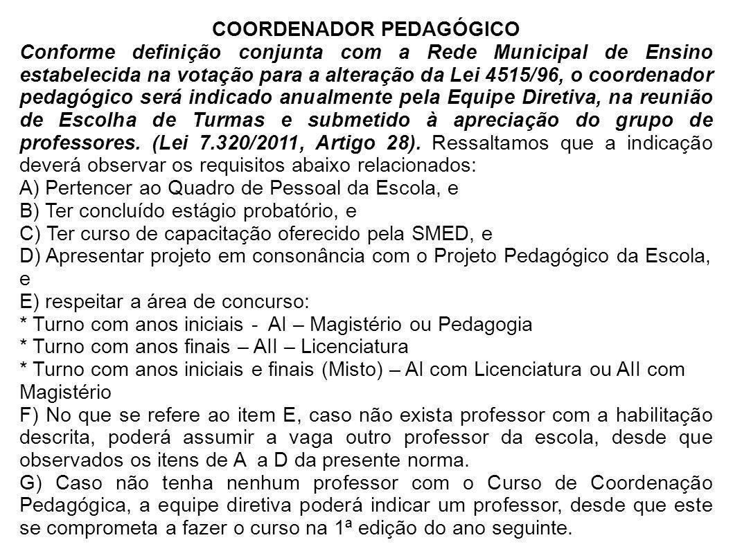 COORDENADOR PEDAGÓGICO Conforme definição conjunta com a Rede Municipal de Ensino estabelecida na votação para a alteração da Lei 4515/96, o coordenad