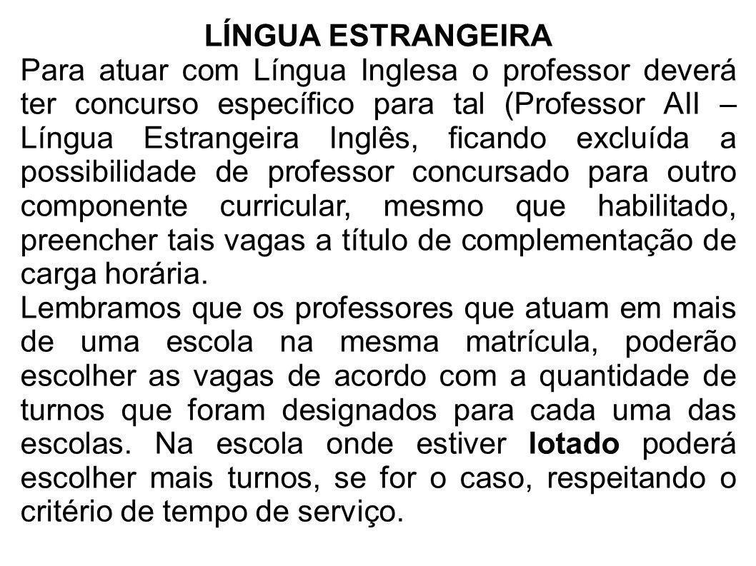 LÍNGUA ESTRANGEIRA Para atuar com Língua Inglesa o professor deverá ter concurso específico para tal (Professor AII – Língua Estrangeira Inglês, fican