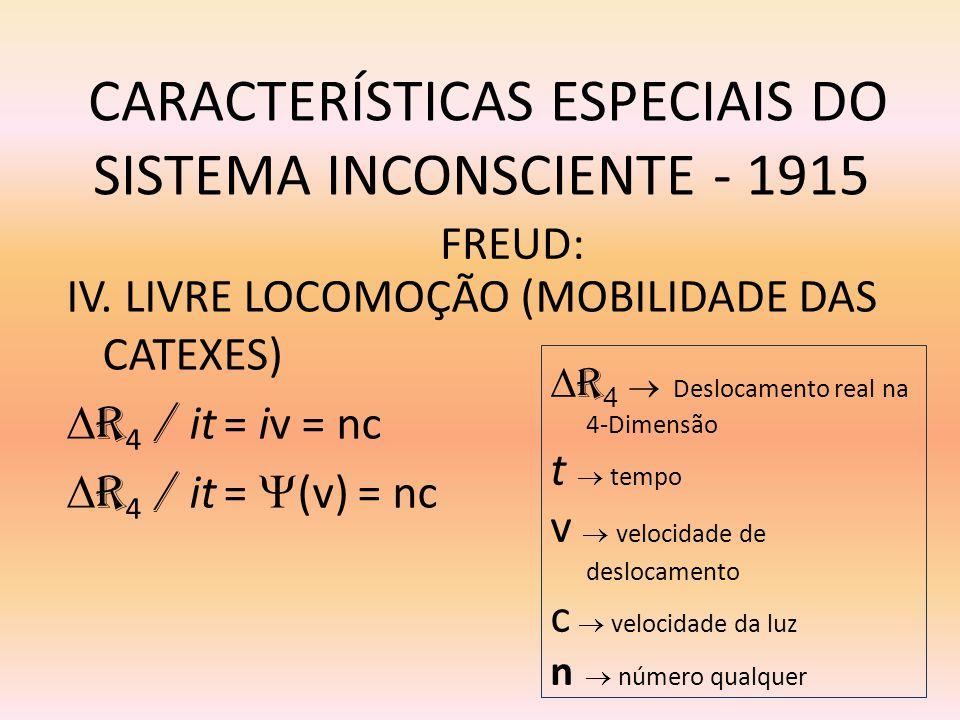 CARACTERÍSTICAS ESPECIAIS DO SISTEMA INCONSCIENTE - 1915 IV. LIVRE LOCOMOÇÃO (MOBILIDADE DAS CATEXES) R 4 / it = iv = nc R 4 / it = (v) = nc FREUD: R