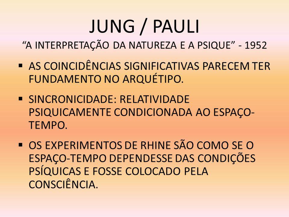 JUNG / PAULI A INTERPRETAÇÃO DA NATUREZA E A PSIQUE - 1952 AS COINCIDÊNCIAS SIGNIFICATIVAS PARECEM TER FUNDAMENTO NO ARQUÉTIPO. SINCRONICIDADE: RELATI