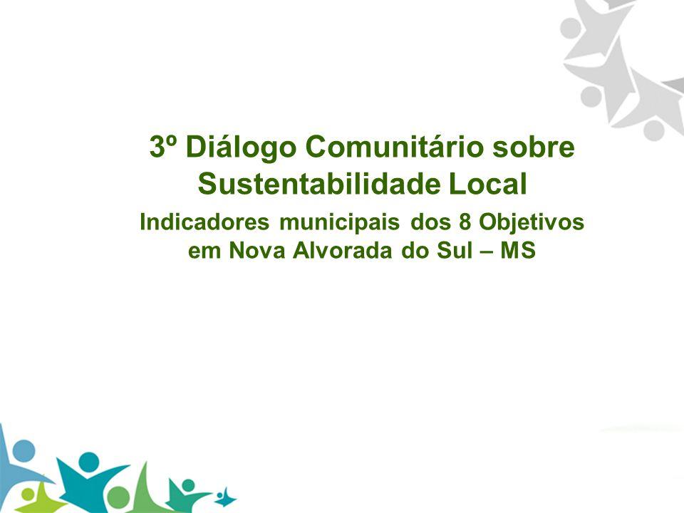 3º Diálogo Comunitário sobre Sustentabilidade Local Indicadores municipais dos 8 Objetivos em Nova Alvorada do Sul – MS