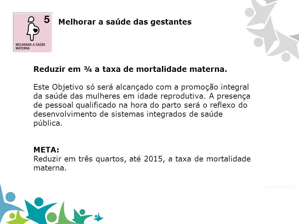 Melhorar a saúde das gestantes Reduzir em ¾ a taxa de mortalidade materna. Este Objetivo só será alcançado com a promoção integral da saúde das mulher