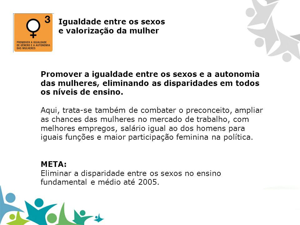 Igualdade entre os sexos e valorização da mulher Promover a igualdade entre os sexos e a autonomia das mulheres, eliminando as disparidades em todos o