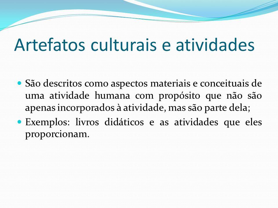 Artefatos culturais e atividades São descritos como aspectos materiais e conceituais de uma atividade humana com propósito que não são apenas incorporados à atividade, mas são parte dela; Exemplos: livros didáticos e as atividades que eles proporcionam.