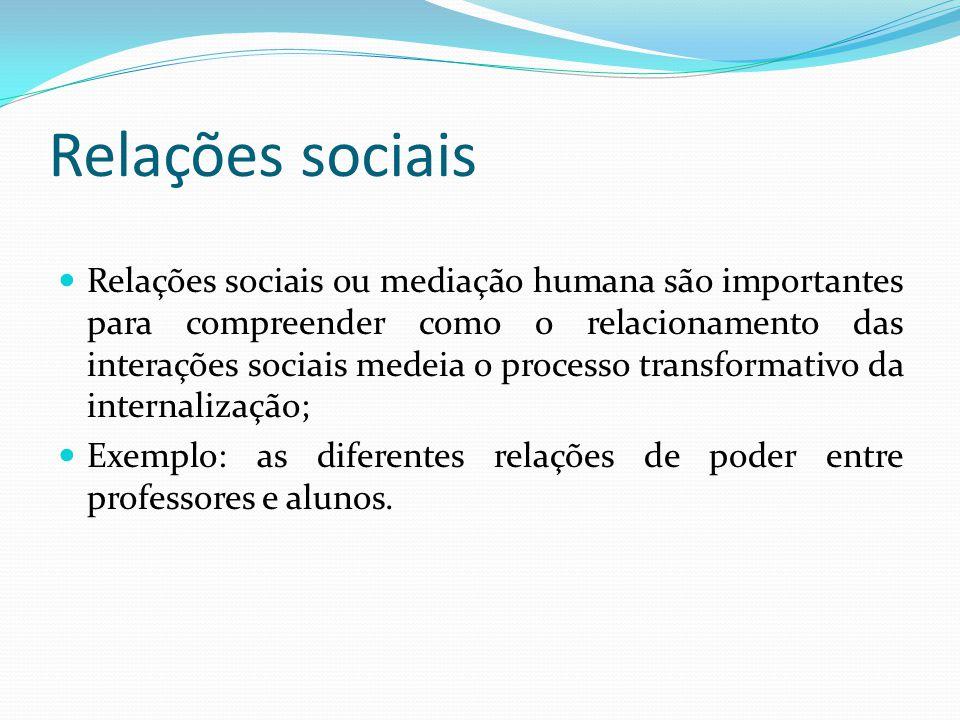 Relações sociais Relações sociais ou mediação humana são importantes para compreender como o relacionamento das interações sociais medeia o processo transformativo da internalização; Exemplo: as diferentes relações de poder entre professores e alunos.