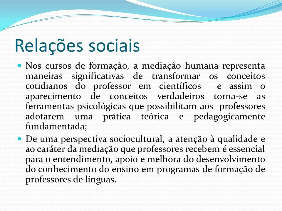 Relações sociais Nos cursos de formação, a mediação humana representa maneiras significativas de transformar os conceitos cotidianos do professor em c