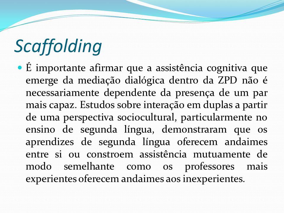 Scaffolding É importante afirmar que a assistência cognitiva que emerge da mediação dialógica dentro da ZPD não é necessariamente dependente da presença de um par mais capaz.