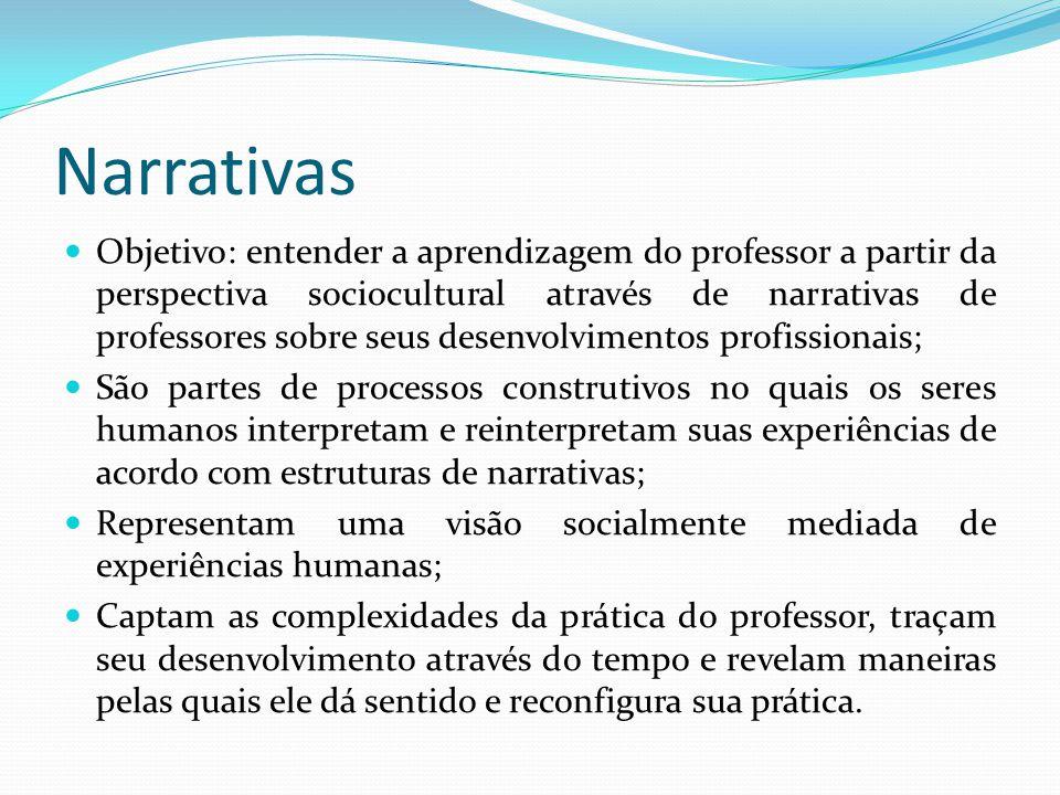 Narrativas Objetivo: entender a aprendizagem do professor a partir da perspectiva sociocultural através de narrativas de professores sobre seus desenv