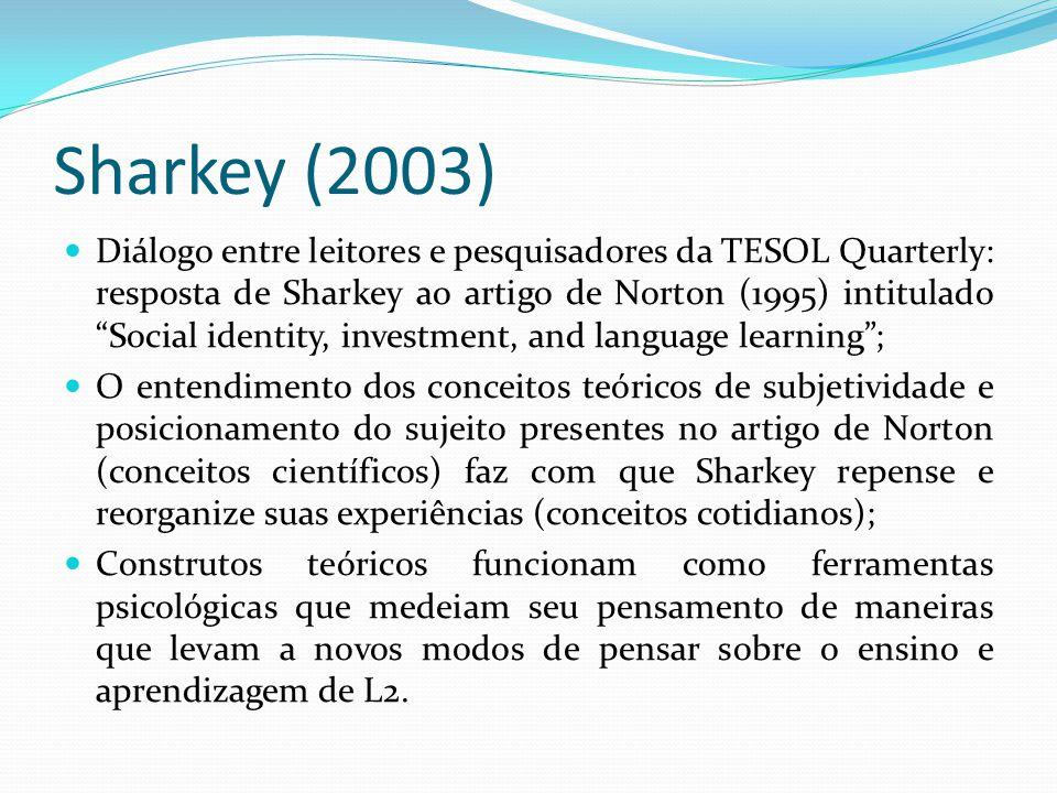 Sharkey (2003) Diálogo entre leitores e pesquisadores da TESOL Quarterly: resposta de Sharkey ao artigo de Norton (1995) intitulado Social identity, investment, and language learning; O entendimento dos conceitos teóricos de subjetividade e posicionamento do sujeito presentes no artigo de Norton (conceitos científicos) faz com que Sharkey repense e reorganize suas experiências (conceitos cotidianos); Construtos teóricos funcionam como ferramentas psicológicas que medeiam seu pensamento de maneiras que levam a novos modos de pensar sobre o ensino e aprendizagem de L2.