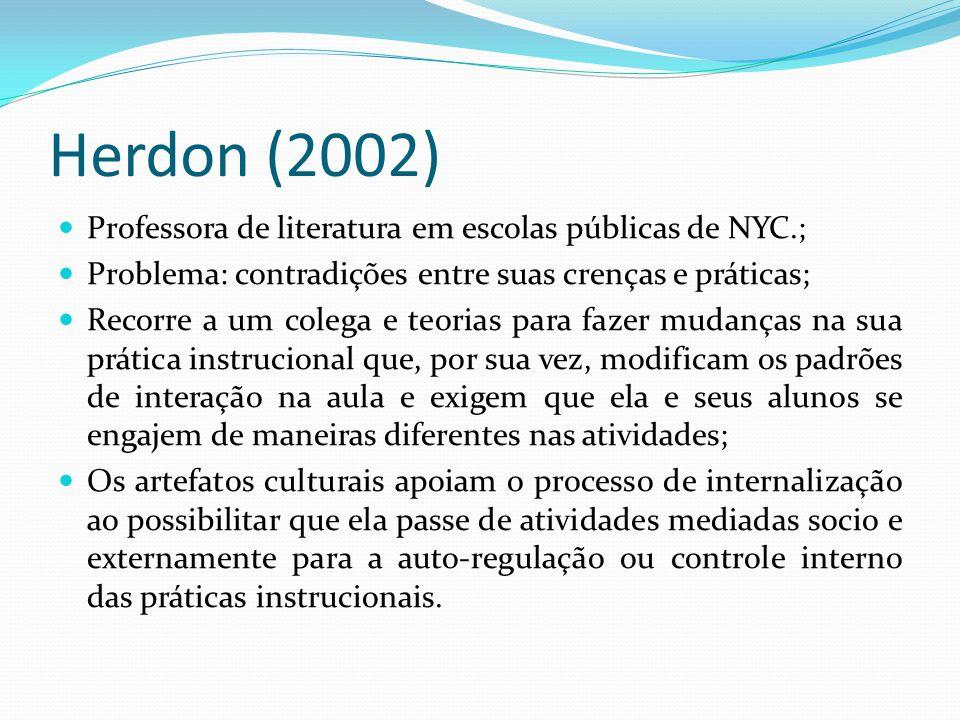 Herdon (2002) Professora de literatura em escolas públicas de NYC.; Problema: contradições entre suas crenças e práticas; Recorre a um colega e teoria
