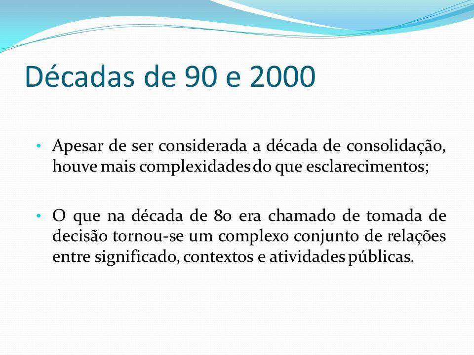 Décadas de 90 e 2000 Apesar de ser considerada a década de consolidação, houve mais complexidades do que esclarecimentos; O que na década de 80 era chamado de tomada de decisão tornou-se um complexo conjunto de relações entre significado, contextos e atividades públicas.