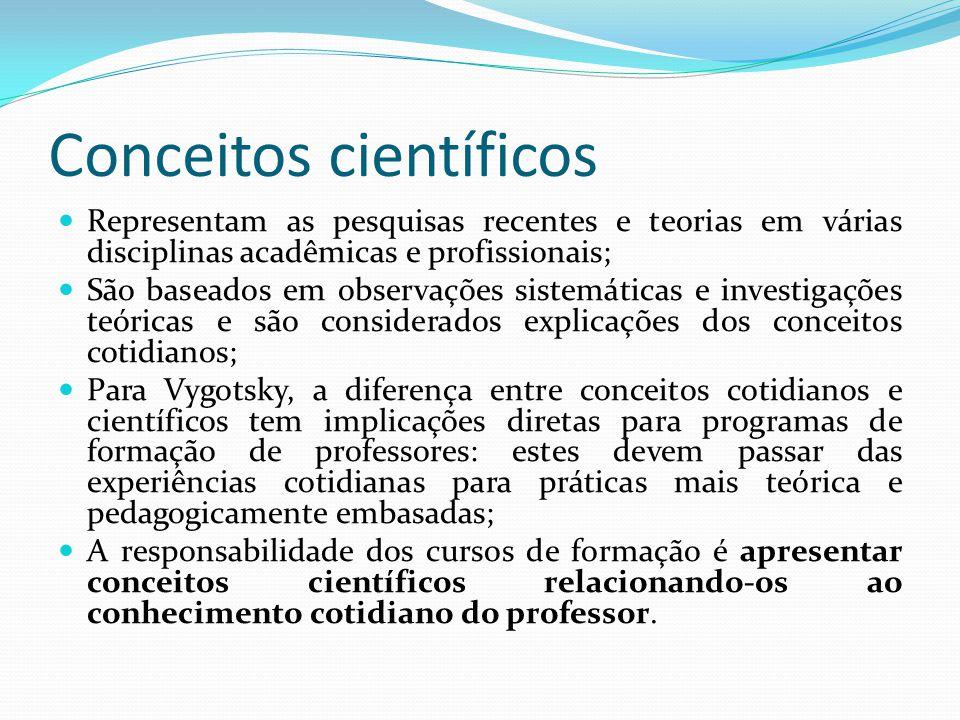 Conceitos científicos Representam as pesquisas recentes e teorias em várias disciplinas acadêmicas e profissionais; São baseados em observações sistem