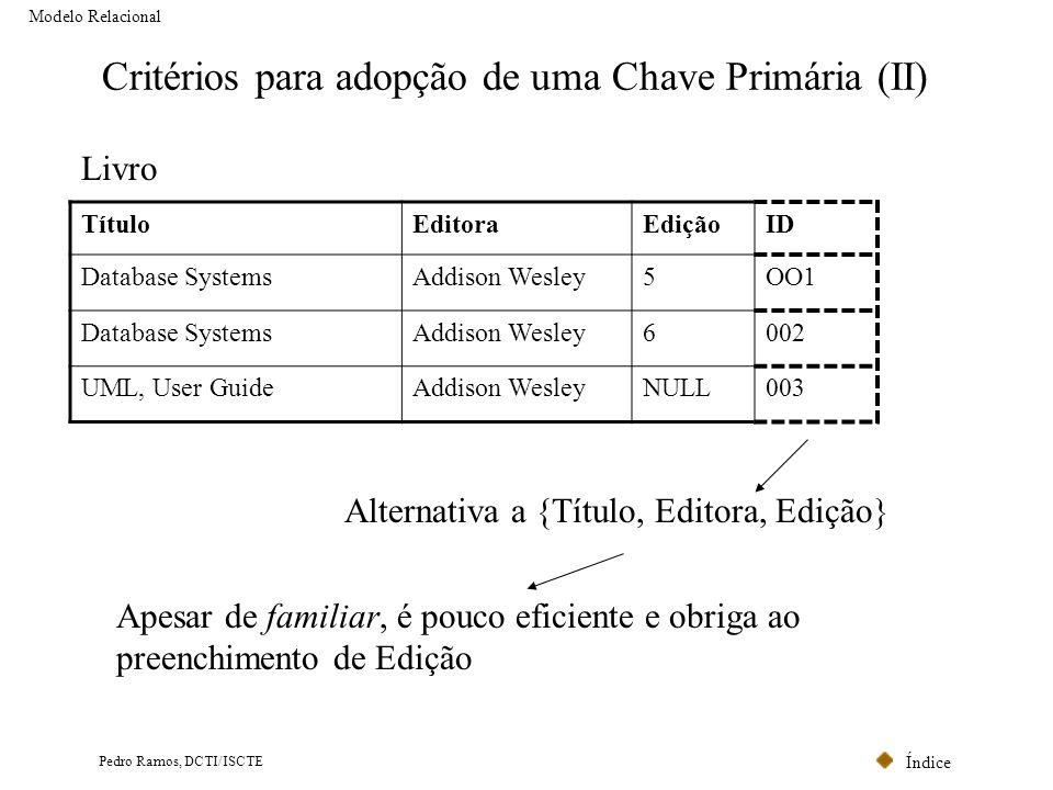 Índice Pedro Ramos, DCTI/ISCTE Critérios para adopção de uma Chave Primária (II) Modelo Relacional TítuloEditoraEdiçãoID Database SystemsAddison Wesle